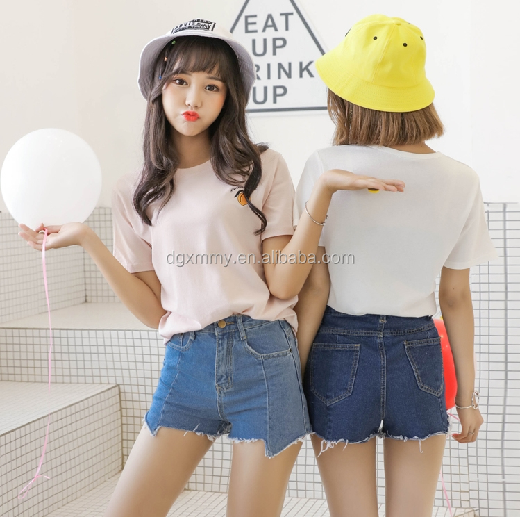 Ulzzang exo harajuku women Korean clothes summer 2017 clothing cute peach embroidered girl best friends cotton t-shirt women
