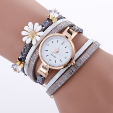 Best selling leather lady bracelet flower wrist watch