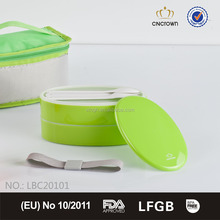 stackable plastic lunch box with cooler bag set / cutlery