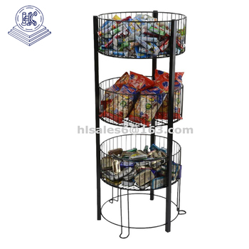 Top Round Bins 3 Tiered Basket Floor Stand
