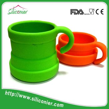 Silicone stackable custom travel coffee mug custom
