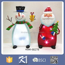 metal white snowman and red santa claus party decoration christmas with led light