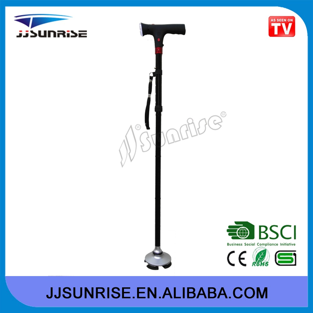 Adjustable Folding Elderly 24hr safety Walking Stick with Light and Alarm