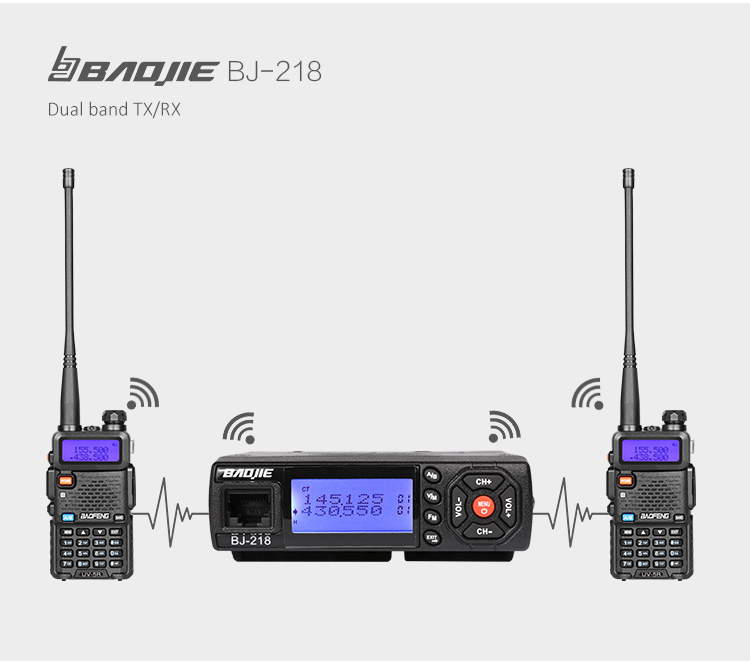 Hot sell MINI vehicle radio BAOJIE BJ-218 25W dual band mobile radio transceiver