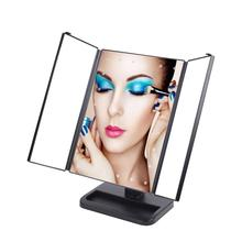 2017 LED Touch Screen Makeup Mirror Portable Adjustable Magnifying Tabletop Cosmetic Folding Mirror 21 LED lights Tri Sided