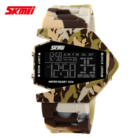 5ATM Waterproof Comouflage Designer Silicone Strap 5ATM Waterproof SKmei Airplane Digital Watches