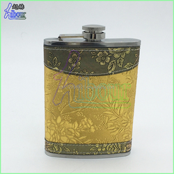 promotional FDA 304 stainless steel leather wrapped hip flask, golden leather hip flask for alcohol