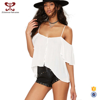 White Loose Off Shoulder Different Types Of Blouse Designs,Hot Navel Blouse
