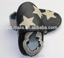 Soft balck genuine leather baby animal pattern shoes kids lovely moccasins