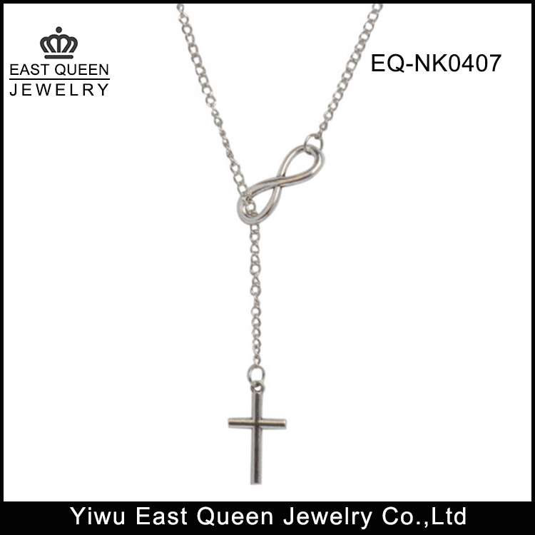 Womens Infinity Love with Cross Charm Lariat Necklace