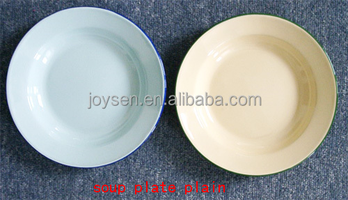 Plain Color Soup Plate, Enamel Soup Plate