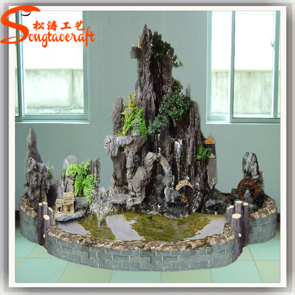 Artificial Fiberglass Rock Waterfall Home Decoration Fake