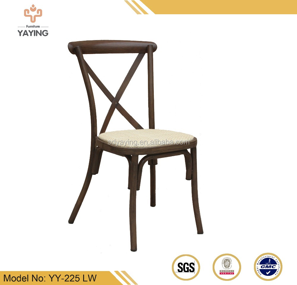 Durable imitated wooden rattan seat cross back dining chair Side Chair