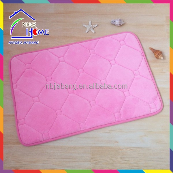 Green high quality promotional polyester velour emboss bath mat