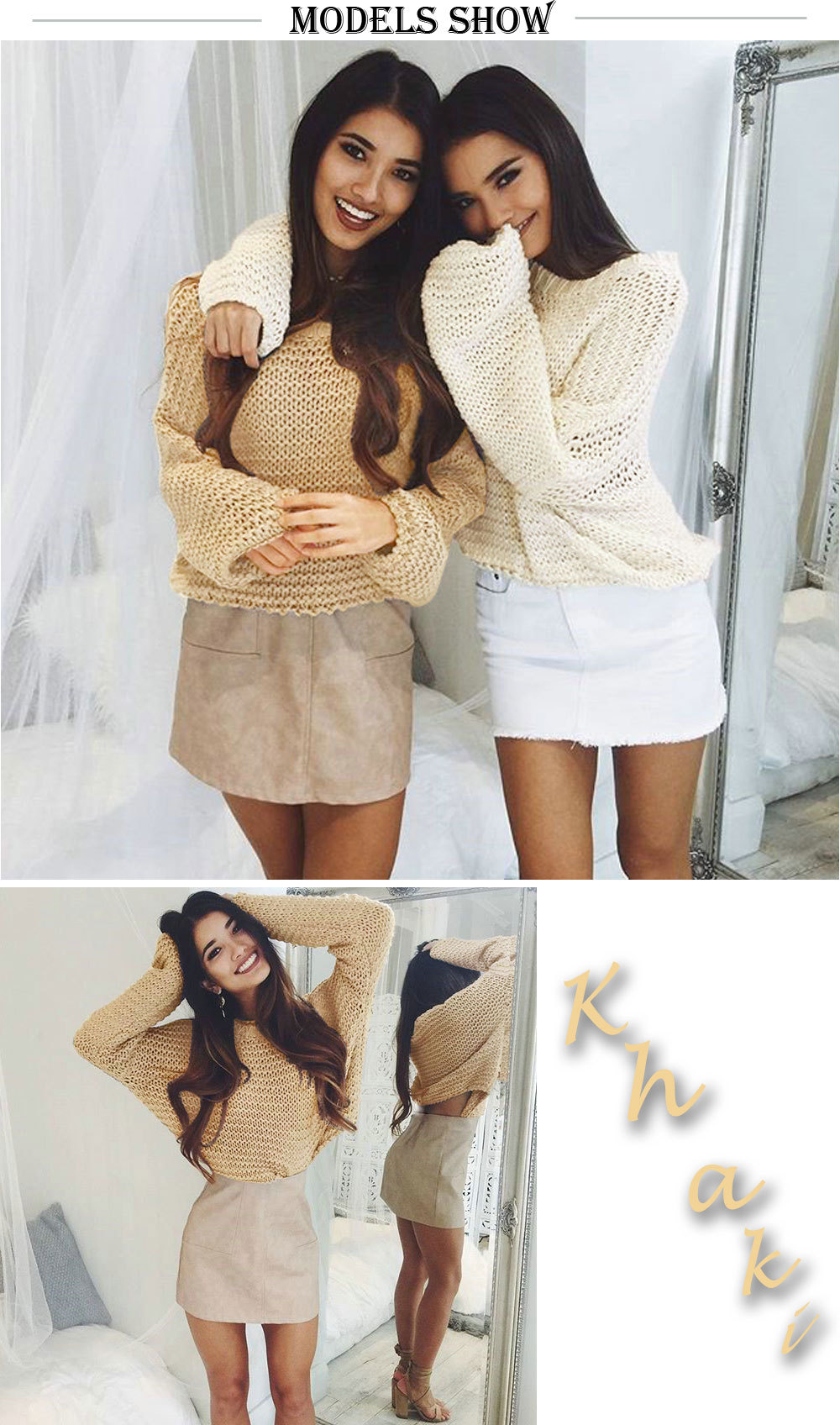 Amazon hot style lady sexy loose sweater