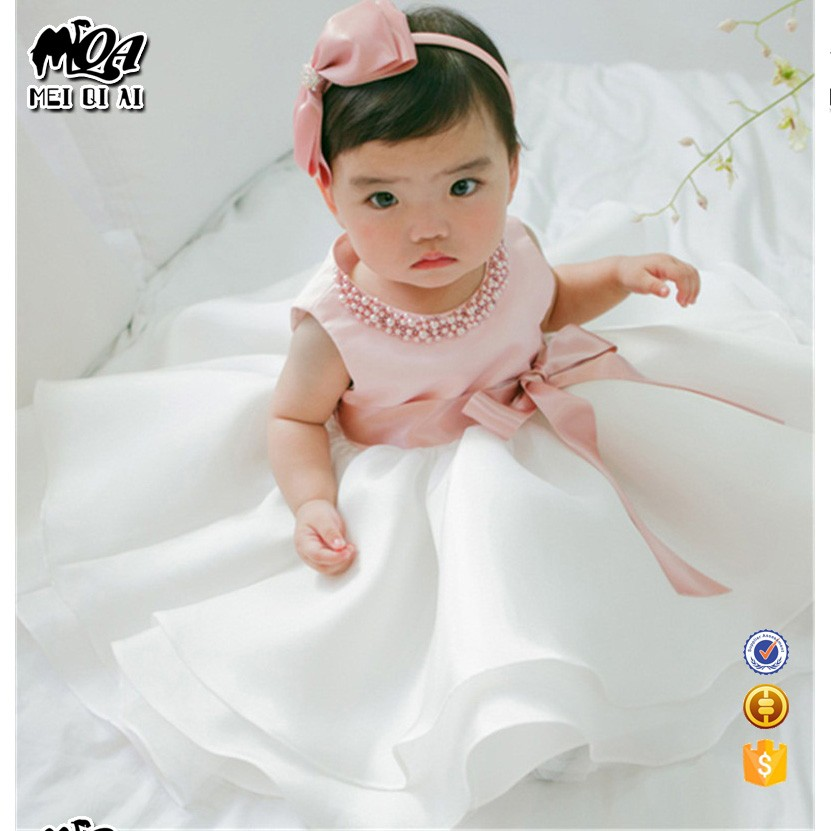 2017 New Born Baby Girl Summer Cute Pearl Children Frock Design Baby Clothes Dress L1829XZ