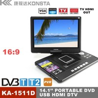 2016 watch live olympic games using wireless DVB-T2 tv technology with portable DVD 14.1 inch screen, HD MI 1080P resolution