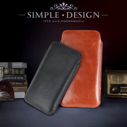 2016 new design style mobile accessory genuine leather cover phone case sleeve bag for iPhone 6S concise design