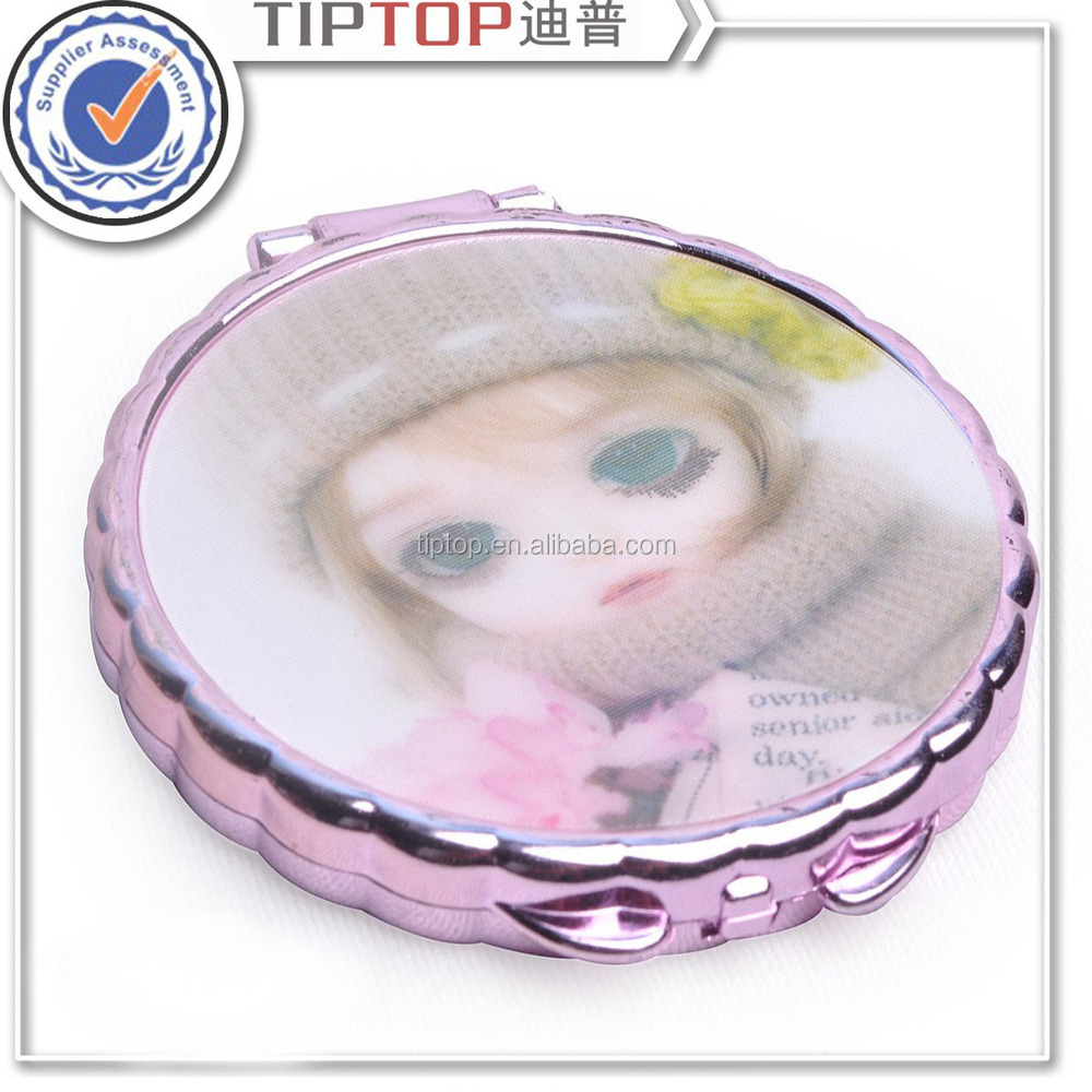 fashion round metal cosmetic compact mirror
