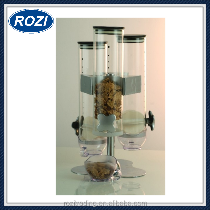 Rotating Glass Triple Cereal Dispenser Container Bulk Food Storage