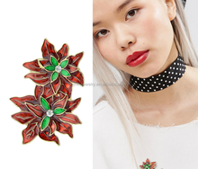 P53-099 hot style gold red and enamel twin lotus flowers on a stalk brooches women