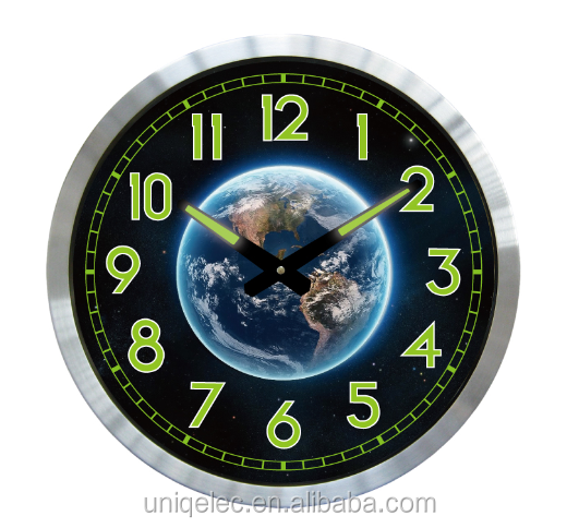 Aluminium beautiful solar system glow wall clock