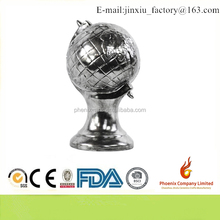 12566 Ceramic Globe Sculpture Tarnished Chrome Finish