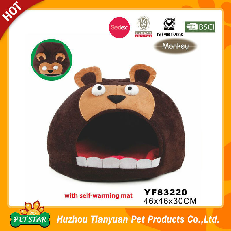 New!!! Comfortable Luxury Unique Design Cute Monkey Head Plush Pet House with Self Warming Mat