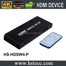 3D 4k*2k HDMI 1.4 Switch 4x1 with optical fiber and coaxial audio output