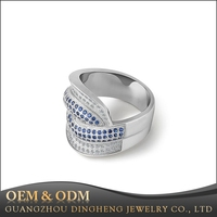 Sterling Silver 925 Eternity Ring Engagement Wedding Band with Simulated Sapphire Cubic Zirconia CZ