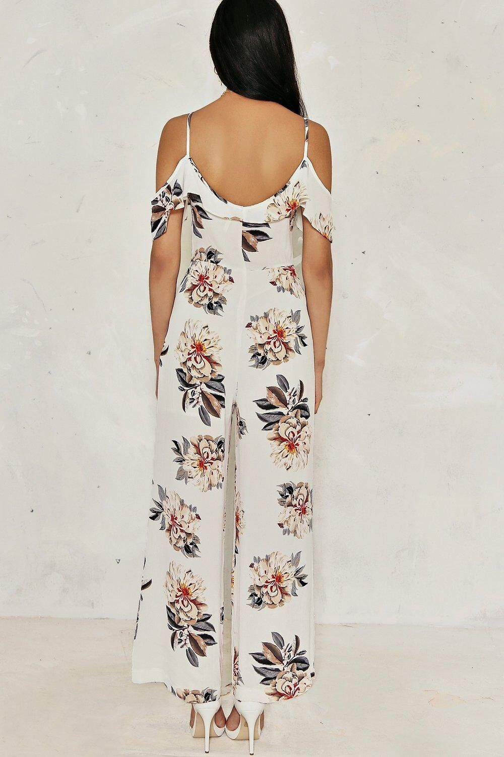 2017 summer new ladies European and American sexy v-neck band printed jumpsuit