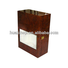 Wooden double wine box with clear window
