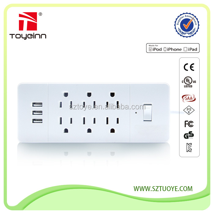Over Loaded Surge Protector 5V 3.4A Max 3 USB Power Strip UL Approval