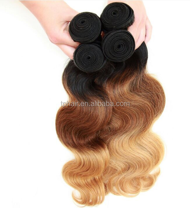 2015 New Product Virgin Remy Human Hair Colored Three Tone Good Luster No Foul Odor 100% Human Hair Weft