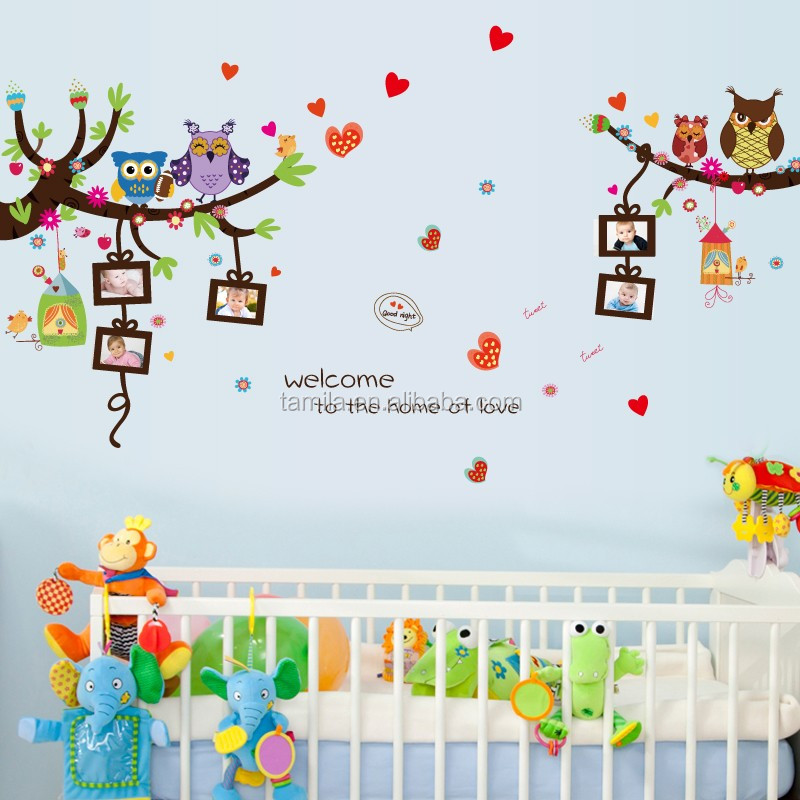 New design owl wall sticker decorative photo frame family tree wall sticker