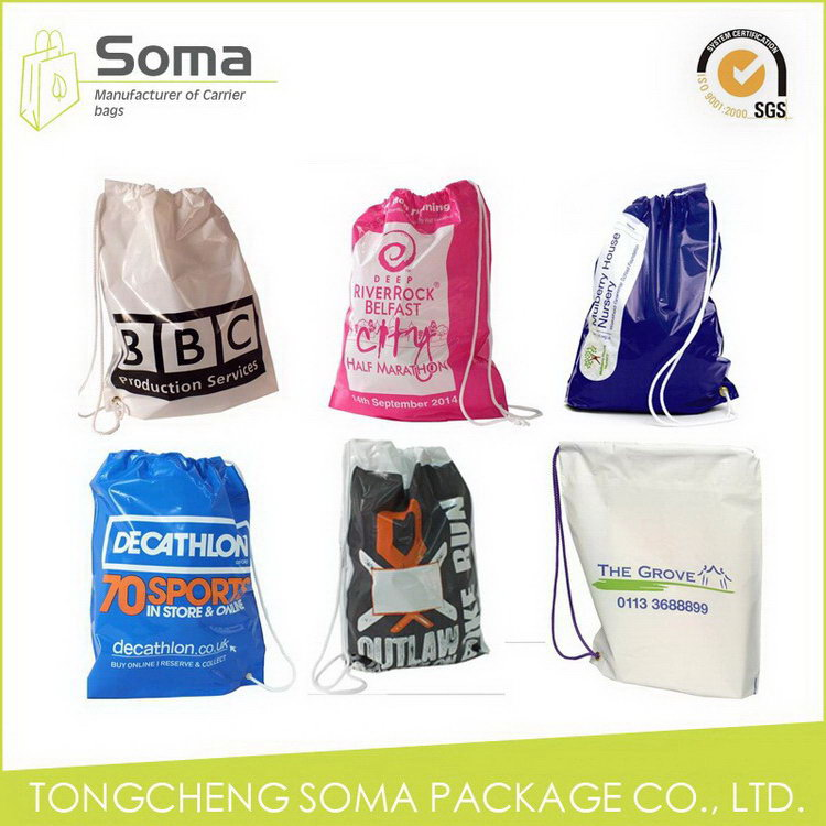 Diversified latest designs best sell cheap printed plastic drawstring bag