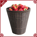 Wholesales handwoven PE plastic round floor display stand for supermarket fruit and vegetbale