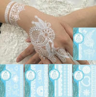 White Tattoo Lace Temporary Tattoos Flower Waterproof Flash/transfer tattoos