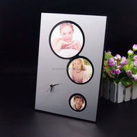2015 3d number promotional aluminum photo frame wall clock with picture display
