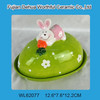 Colorful handpainting Easter rabbit pattern ceramic bread plate with lid