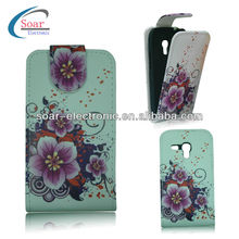 Flower Design pouch leather case for samsung galaxy s3 mini
