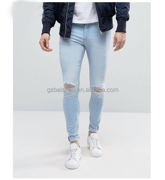 2017 Mens Jeans Pants Super Skinny Washed Blank Blue Ripped Jeans for man