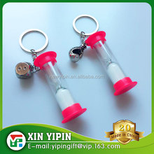 promotional gift sand timer plastic hourglass keychain