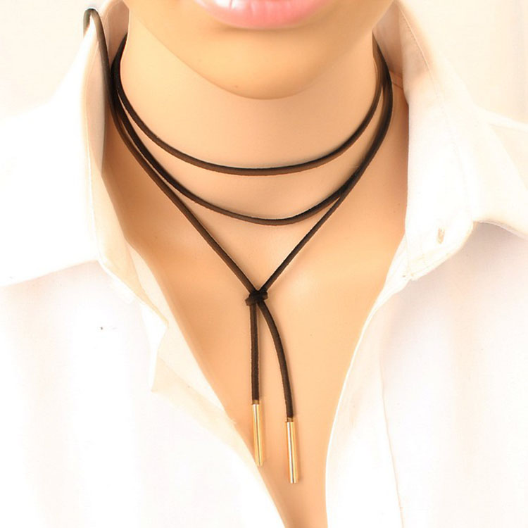 Moonso KS6726 Punk choker, women black leather choker long copper pendant <strong>necklace</strong> for wholesale