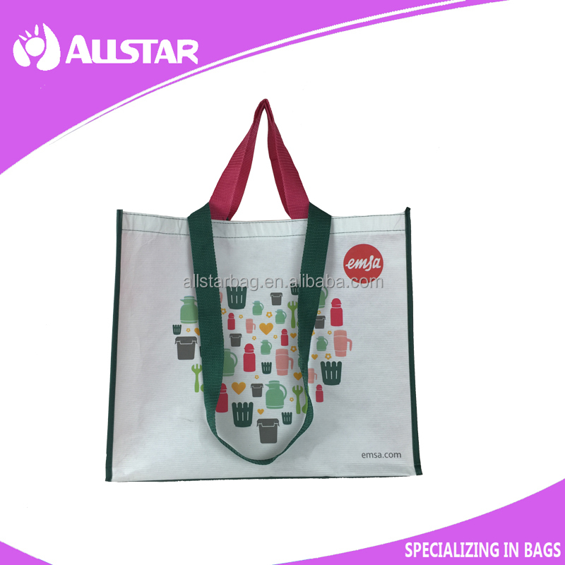 pp woven glossy lamination RPET shopping bag for <strong>promotion</strong>