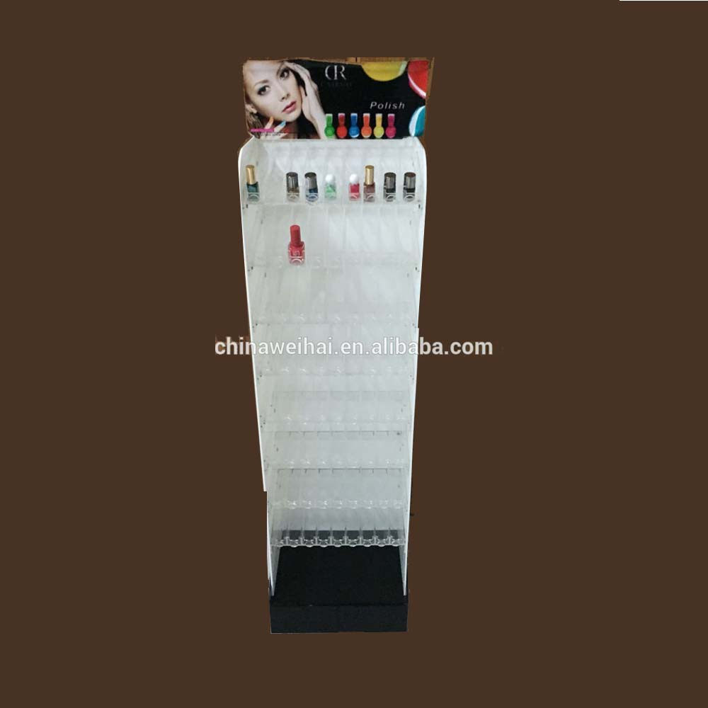 Acrylic retail store floor display stand nail polish display stand cosmetic display stand
