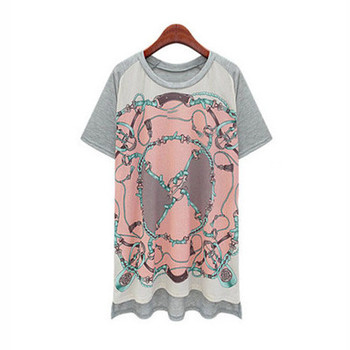 2018 summer new fashion casual loose large size women's round neck printed short-sleeved T-shirt