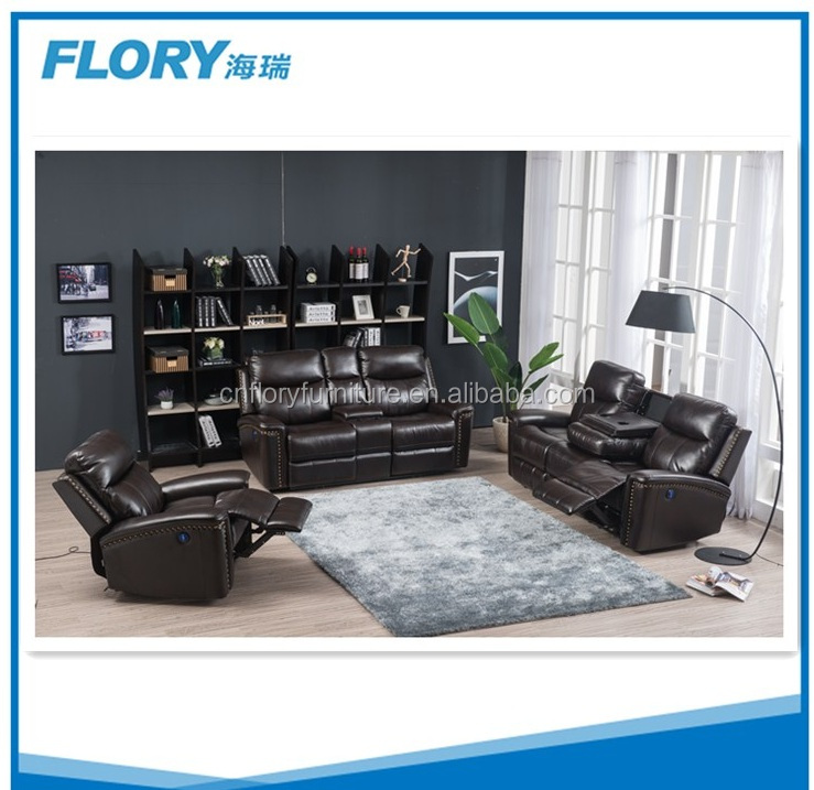 Power reclining USB glider sofa M011