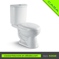 Cost-effective two piece OEM white ceramic toilet for handicapped