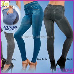 Plus Size 2015 Hot Selling Women's Legging Blue And Black Slim Leggings Jeans Ladies Jeggings With 2 Real Pockets